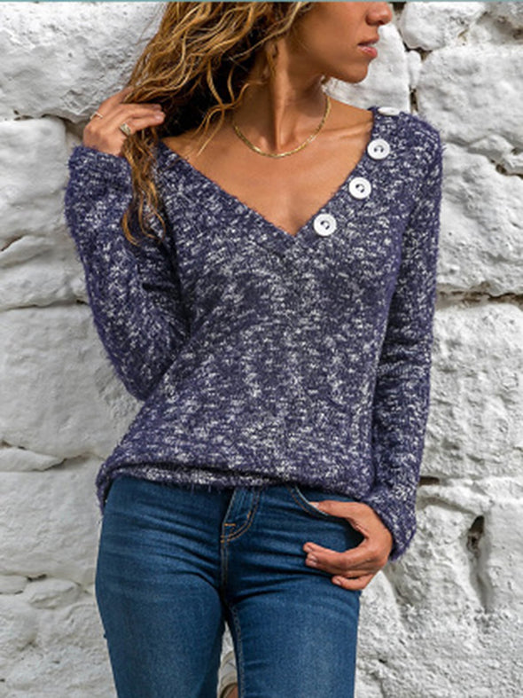 Blue Cotton-Blend Casual Solid V Neck Knitwear