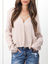 Long Sleeve V Neck Tops