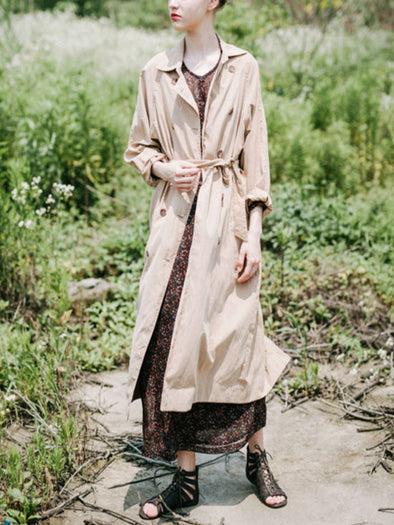 Khaki Cotton Long Sleeve Coat