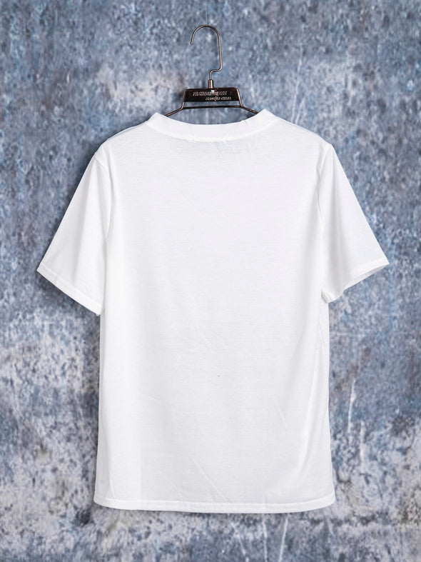 Gray White Casual Round Neck Linen Tops