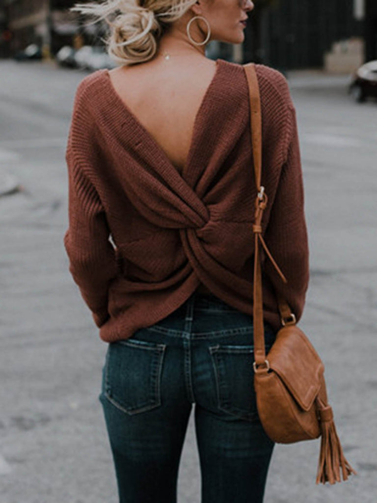 Backless Casual Long Sleeve V Neck Sweaters