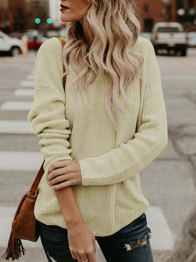 Knitted Casual Solid Long Sleeve Knitwear