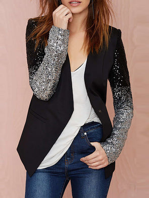 Black Casual Solid Glitter-finished Coat