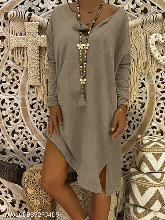 Casual V Neck Long Sleeve Solid Dress