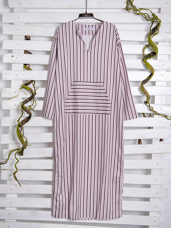 Half Sleeve Paneled Stripe Dress