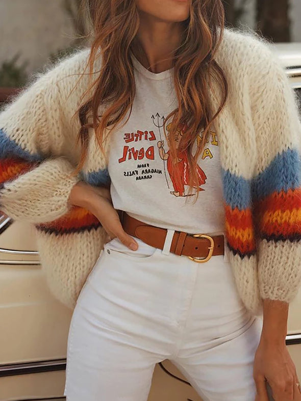 Long Sleeve Color-Block Crew Neck Knitwear