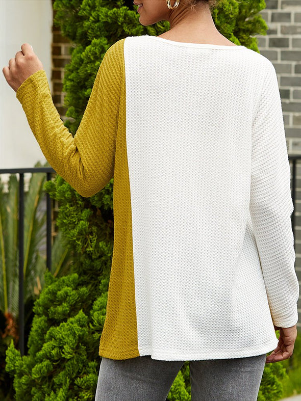 Buttoned Crew Neck Cotton Casual Knitwear
