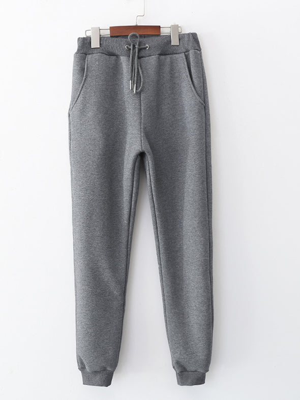 Cotton Casual Sport Soft Sherpa Fur-Lined Jogger Sweatpants with Pockets