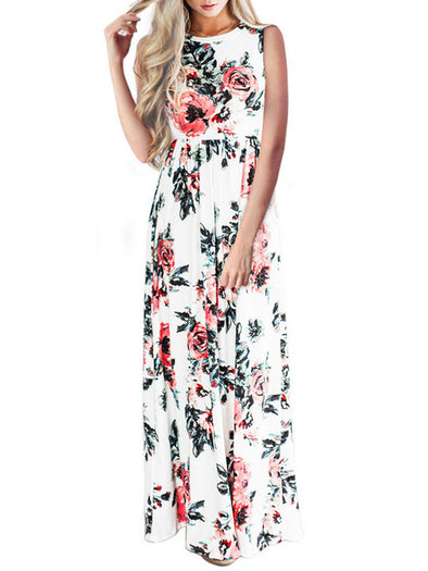 Floral Painted Casual Sleeveless Dress