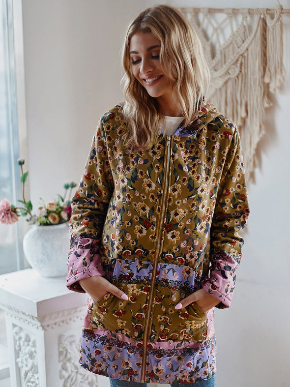 Long Sleeve Hoodie Cotton Floral Outerwear