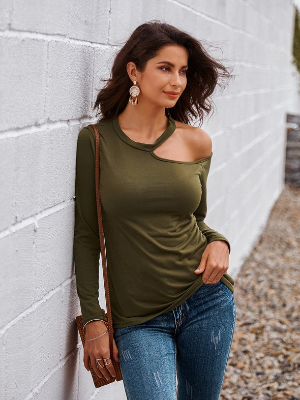 Sexy Solid Halter Cold Shoulder Long Sleeve T-shirt