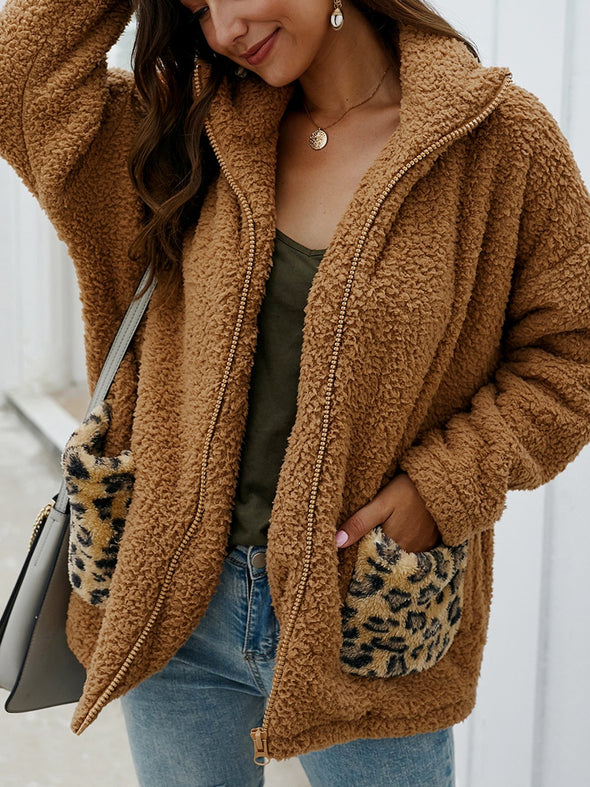 Pockets Leopard Print Long Sleeve Casual Outerwear