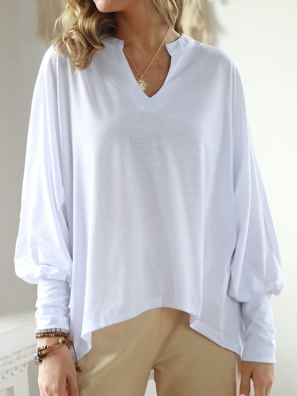 Cotton-Blend Long Sleeve Plain Casual Tops