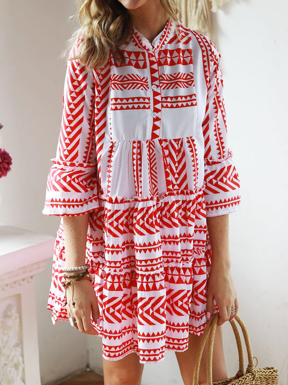 V Neck Bell Sleeve Tribal Cotton Dress