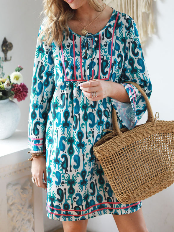 V neck Blue A-line Women Daily Long Sleeve Statement Cotton Paneled Solid Fall Dress