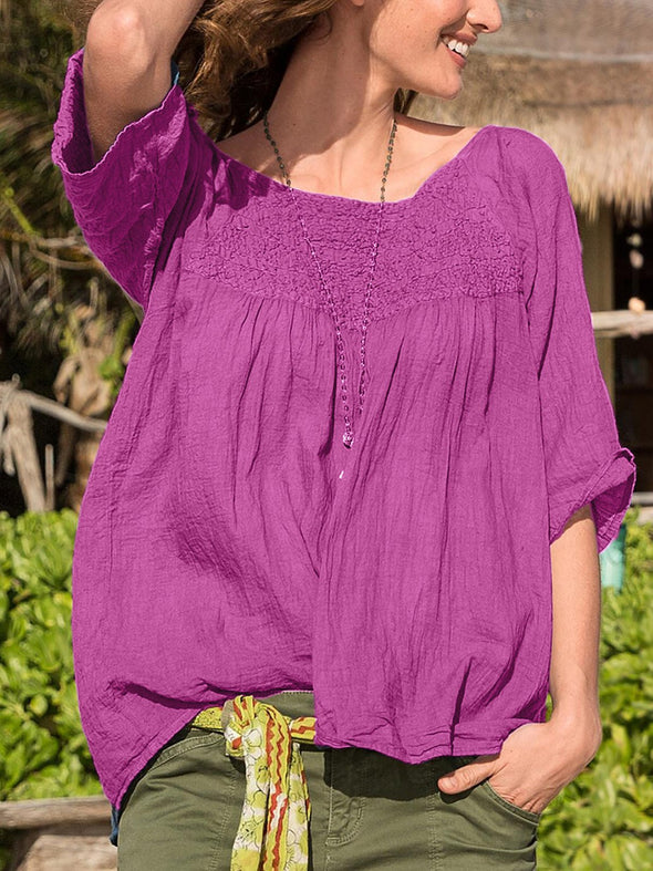 Solid Cotton Half Sleeve Tops