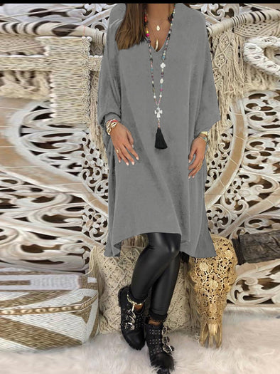 V Neck Long Sleeve Casual A-Line Dress