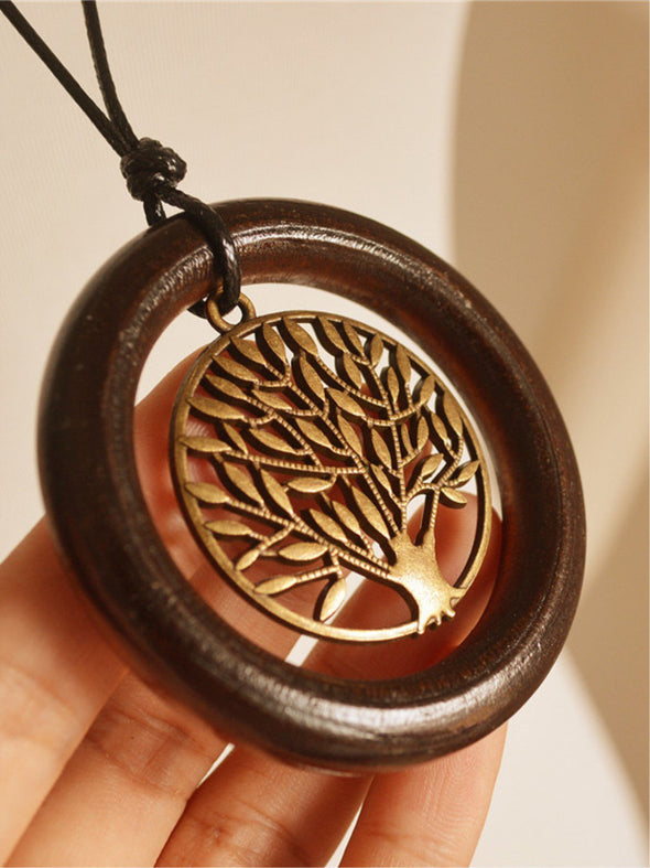 Coffee Vintage Tree Embossed Alloy Women Necklace