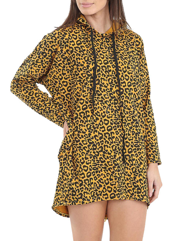 Paneled Leopard Print Casual Cotton-Blend Tops