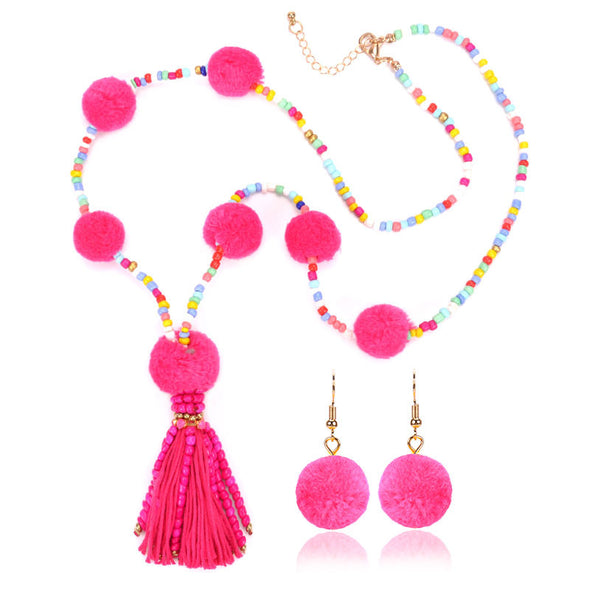 Women Boho Beaded Fringed All Season Necklace