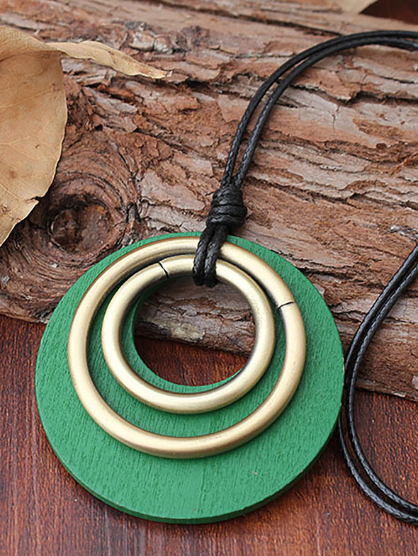 Green Three Round Rings Alloy Necklaces