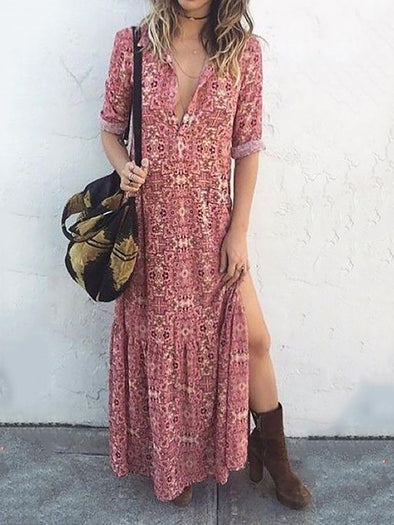 Pink Long Sleeve Floral Shirt Collar Shift Dress