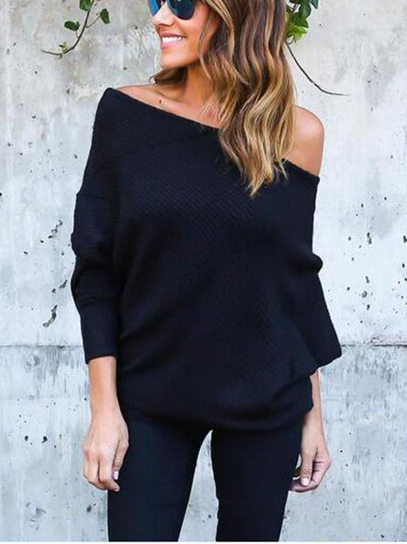 Batwing One Shoulder Cotton-Blend Sexy Knitwear
