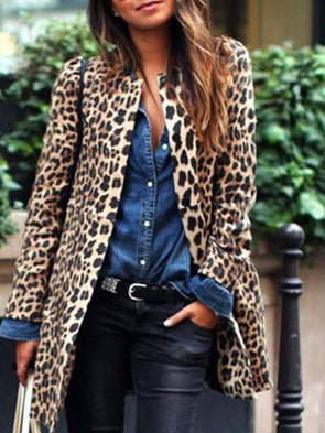 Women Winter Leopard Printed Cardigan