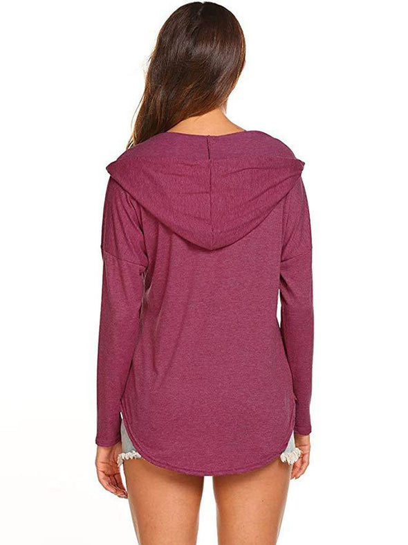 Hoodie Long Sleeve Cotton-Blend Solid Tops