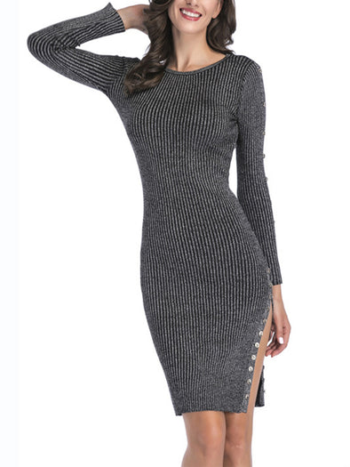 Long Sleeve Knitted Sexy Dress