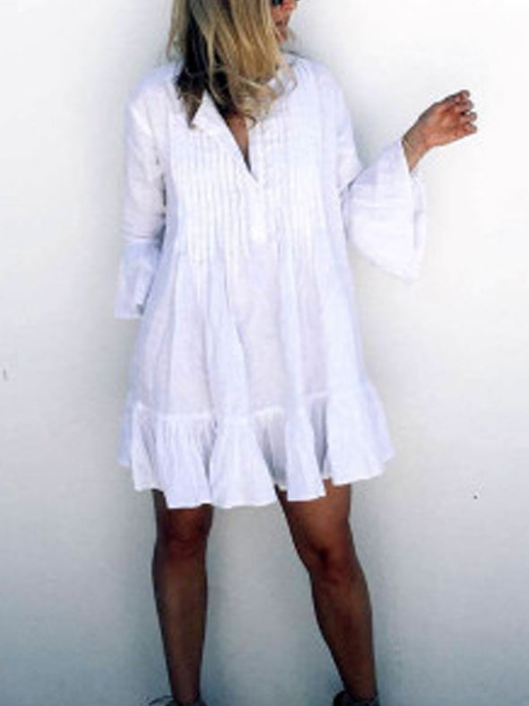 As Picture Shift Boho Solid Dress