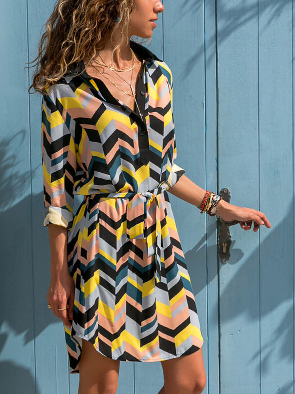 Casual Long Sleeve Shift Buttoned Dress