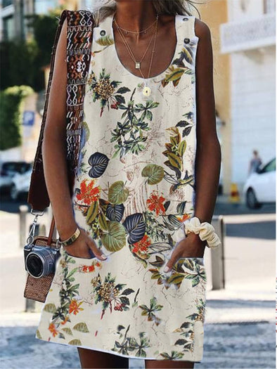 Crew Neck Vintage Cotton Floral Dress
