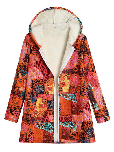 Orange Shift Printed Sweet Outerwear