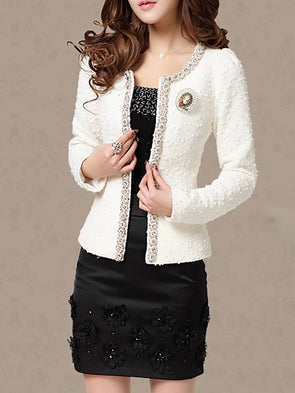 Long Sleeve Solid Coat With Brooch