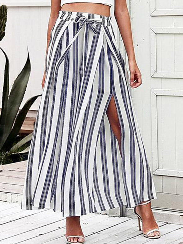 High Waist Laced Striped Wide Leg Pants