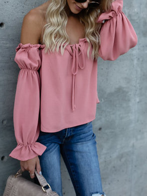 Off Shoulder Long Sleeve Chiffon Tops