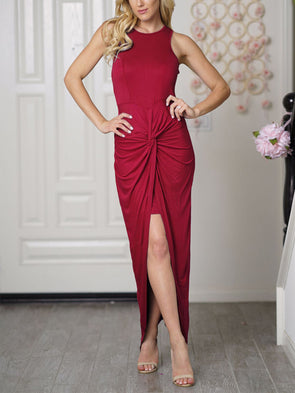 Sexy pleated solid color evening Dress