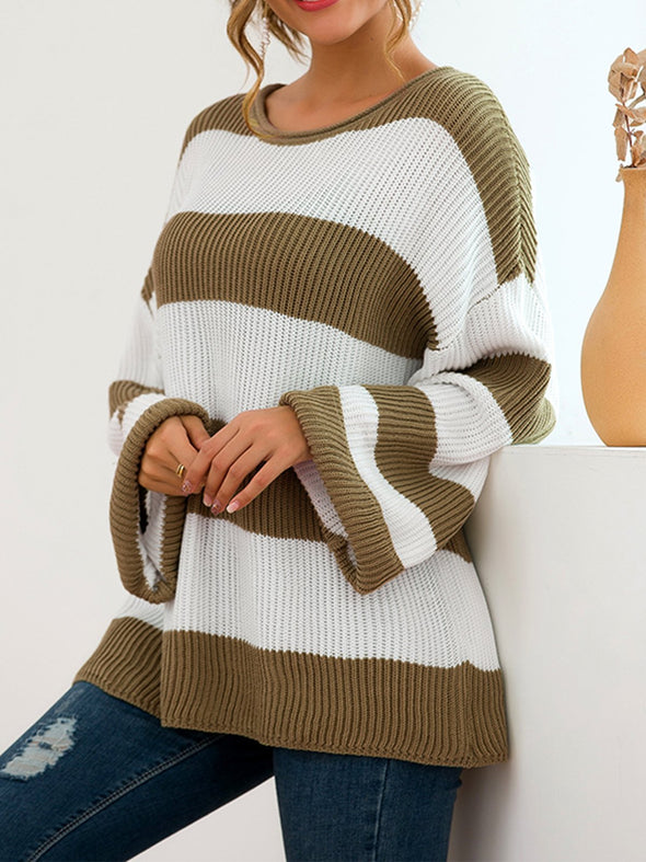 Striped Long Sleeve Crew Neck Casual Knitwear
