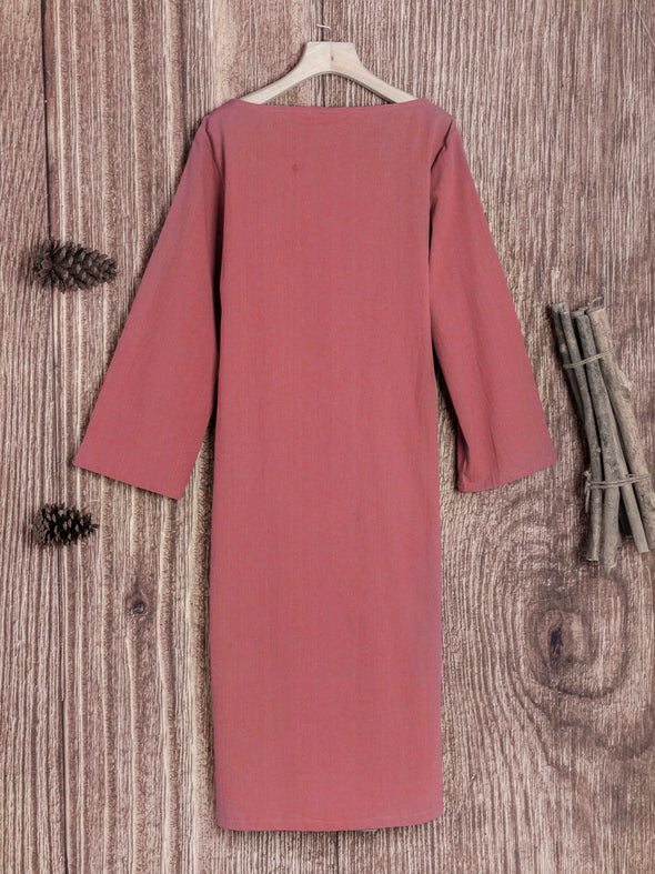 Cotton Round Neck Solid Casual Dress