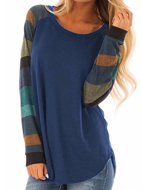 Cotton Color-Block Crew Neck Casual Tops