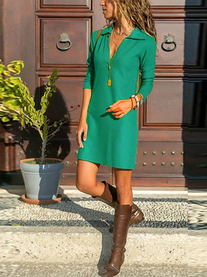 Casual Long Sleeve Solid A-Line Dress