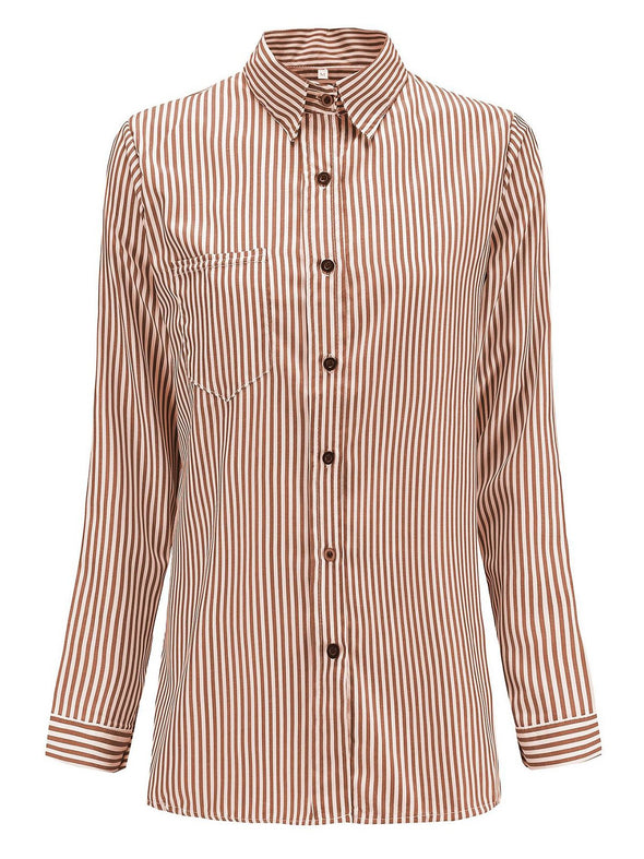 Casual Striped Long Sleeve Buttoned Tops