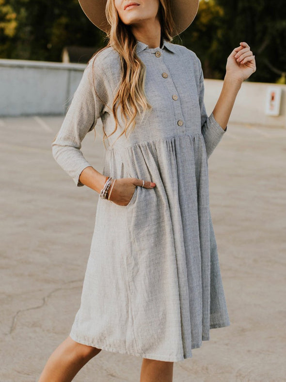 Gray 3/4 Sleeve Buttoned Shirt Collar Dress