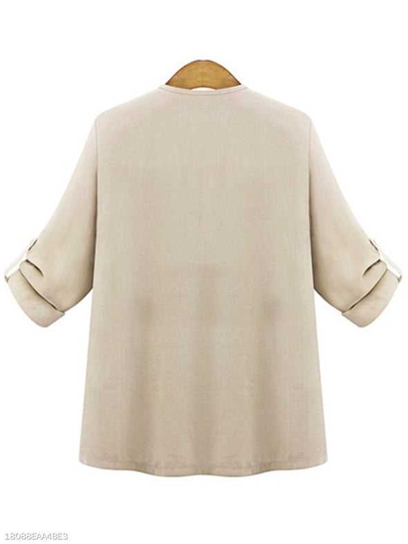 Long Sleeve Casual Deep V-Neck Draped Knitwear