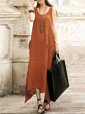 Women Casual Linen Sleeveless Pockets Solid Casual Dress