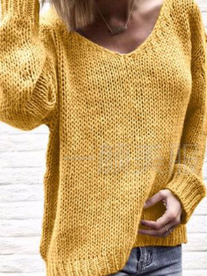Solid Knitted Knitted Casual Knitwear