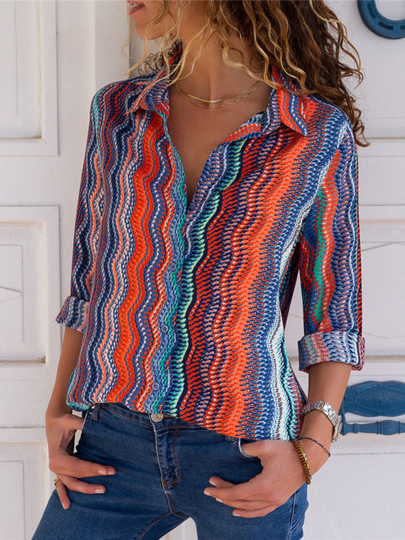 Printed Shawl Collar Long Sleeve Striped Tops