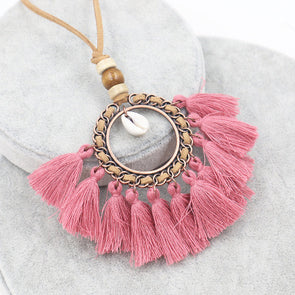 Vintage Ring Fringed Knitted Women Necklace