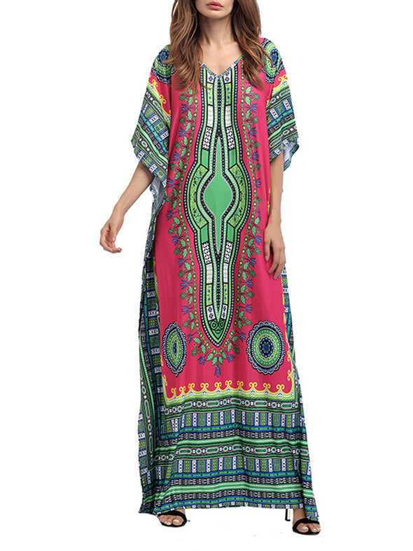 Tribal V Neck Casual Batwing Dress